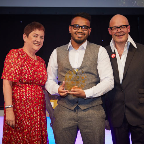 Abed Ahmed, New student of the year with Harry Hill